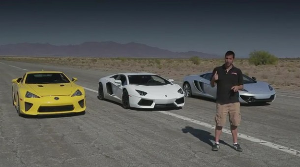 Lamborghini Aventador vs Lexus LFA vs McLaren MP4-12C vs Bugatti Veyron