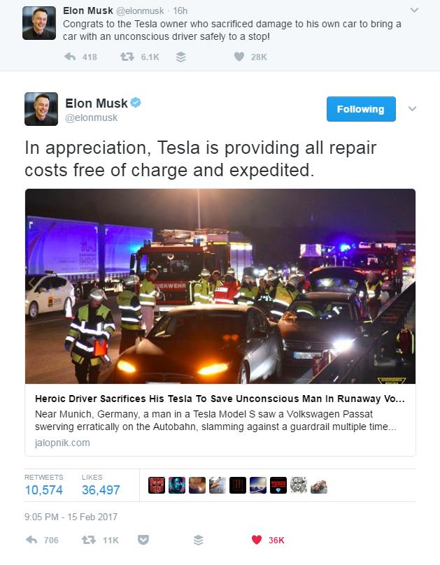 Mensagem de Elon Musk no Twitter